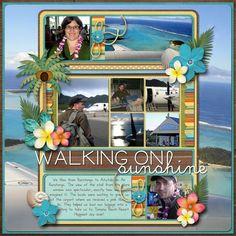 #papercraft #scrapbook #layout. Walking on sunshine #vacationscrapbook #memoriesscrapbook