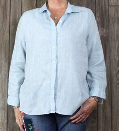 Nice J Jill Love Linen Blouse L Petite LP size Light Blue Womens Top All Season