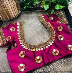 Latest kasu work blouse design - The handmade craft : Latest kasu work blouse design - The handmade craft Pattu Saree Blouse Designs, Blouse Designs Silk, Designer Blouse Patterns, Bridal Blouse Designs, Simple Blouse Designs, Stylish Blouse Design, Anarkali, Streetwear, Beautiful
