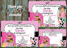 Pink Farm Invitation, Farm Invitation, Girl Farm Invitation Girl Farm | PapelPintadoDesigns - on ArtFire