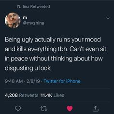 Man I hate leaving my house, some of you bitches stare for wayyy too long, f*ck you Sad Girl Quotes, Real Talk Quotes, Fact Quotes, Mood Quotes, Life Quotes, Being Ugly Quotes, Tweet Quotes, Twitter Quotes, Feeling Ugly