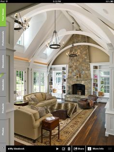 Great room - crown molding light