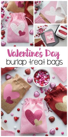 Valentine& Day Burlap Treat Bags: a simple Valentine& day craft using the Cricut Maker, rotary blade, fabric and glitter vinyl.& Filled with chocolate goodies and perfect to give as little gifts. Valentine Desserts, Valentine Day Crafts, Valentine Gifts Ideas, Valentines Goodie Bags, Valentines Bricolage, Glitter Vinyl, Maker, Treat Bags, Little Gifts