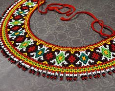 Seed bead necklace, Ethnic necklace, Beaded necklace, Ukrainian jewelry, Traditional necklace