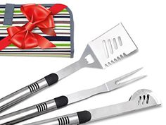 FIGTREECHEF 3 Piece BBQ Tools Set in Canvas Carry Case  Superb Match With Your Weber Grill  Perfect Holiday Gift  Includes Spatula Fork  Tongs  Top Quality Grilling Tools You Can Rely On >>> Click on the image for additional details.