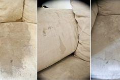 Comment faire disparaître les vilaines taches sur un canapé en tissu!