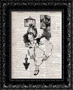 Alice In Wonderland Falls Down The Rabbit Hole B/W Vintage Dictionary Print Vintage Book Print Page Art Upcycled Vintage Book Art