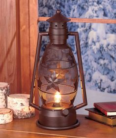 "Rustic Lantern Lamps|The Lakeside Collection $18.95 ea. The lamp features a classic shape accented w/stars-rustic & black-bears. On/off switch & 55"" cord. 15"" x 7-3/4"" x 5-1/2"" Metal."