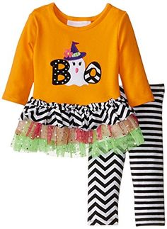 Bonnie Baby BabyGirls Newborn Orange Ghost Boo Legging Set Orange 03 Months *** Continue to the product at the image link.
