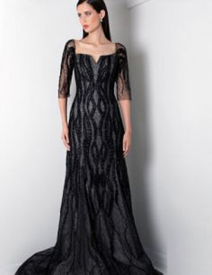 Rene Ruiz Formal 3/4 Illusion Sleeve Embellished Evening Gown