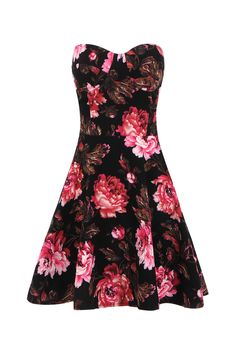Black Bandeau Swing Dress With Red Rose Print  -YOINS