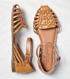 Tan AEO Ankle Strap Huarache Sandal