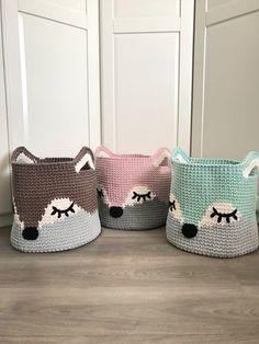 Knitted Baby Blankets, Baby Girl Blankets, Crochet Fox, Crochet Animals, Nursery Toys, Fox Nursery, Nursery Decor, Bedroom Decor, Toy Basket