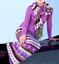 Maxi crochet skirt PATTERN crochet scarf by FavoritePATTERNs
