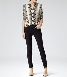 Womens Reiss Rafi Black Snake Print Shirt