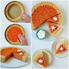 Pumpkin pie plate rice crispy treats for kids