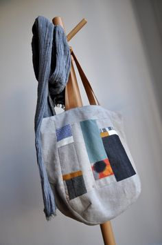 ON SALE - Patchwork linen bag with leather handles. €38.00, via Etsy.