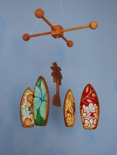 Baby Mobile - Baby Crib Mobile - Surfboards - Wooden Mobile for a Beach Themed Nursery