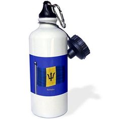 3dRose The flag of Barbados waving on a blue background, Sports Water Bottle, 21oz, White