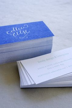 blue letterpress business cards. I like the language used.