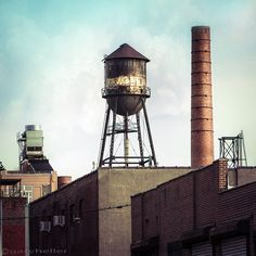 New York Water Towers Urban Art Photography, Brooklyn Industrial Color Photograph, signed print Metallic Prints, Metallic Paper, Large Prints, Fine Art Prints, Water Tower, Sign Printing, Urban Art, New Art, Brooklyn