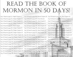 Read the Book of Mormon in 50 Days!! :) I love this challenge!!