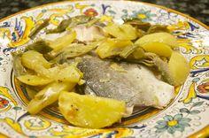 Roasted Fish with Potatoes and Artichokes - Pesce al forno con patate e carciofi