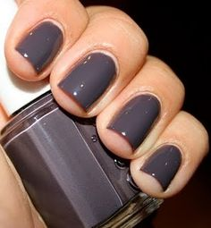 """Color grey fall nail color-- essie """"smokin hot"""" Let me just say I am a huge fan of Essie Na. fall nail color-- essie """"smokin hot"""" Let me just say I am a huge fan of Essie Nail polish. OPI is good but I love these too! Gray Nails, Love Nails, How To Do Nails, Pretty Nails, Gray Nail Polish, Essie Nail Polish Colors, Purple Nails, Nagellack Design, Nagellack Trends"""