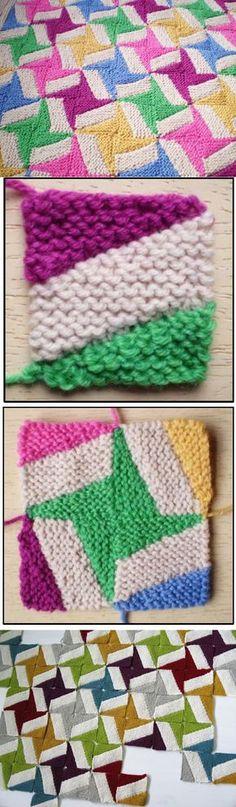 Multi colored garter stitch Squares