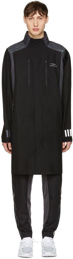 370€ adidas x White Mountaineering - Manteau en nylon noir Long
