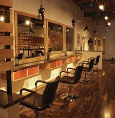 hanging from the ceiling blow driers . not for La Parlor Home Hair Salons, Home Salon, Spa, Styling Stations, Retail Shelving, Cypress Wood, Beauty Salon Interior, Hair Shop, Big Design