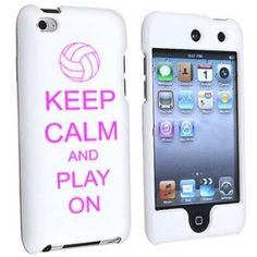 $14.99 Apple iPod Touch 4th Generation White Rubber Hard Case Snap on 2 piece Hot Pink Keep Calm and Play On Volleyball