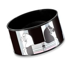 "Nouveau Rocabar Hermes extra wide printed enamel bracelet  Glossy black PVD plated, 1.5"" wide, 2.5"" diameter"