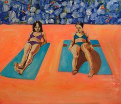 "Saatchi Online Artist: Katrine Storebø; Oil 2013 Painting ""Girls Sunbathing"""