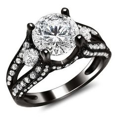 2.35CT ROUND SPLIT SHANK DIAMOND ENGAGEMENT RING 18K BLACK GOLD