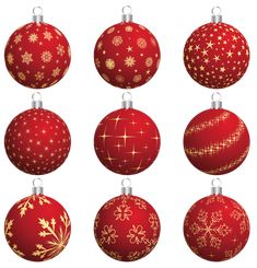 Large Transparent Red Christmas Balls Collection PNG Clipart