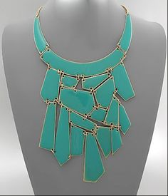 such a pretty pop of color over a simple tee- geometric bib necklace