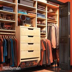 Build your own birch plywood closet organizer for half the cost of buying one. Using this simple design you can build an organizer to fit any size closet in a weekend.