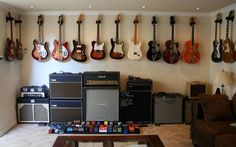 That's a lot of guitars! Clint and Jason's dream room. amzn.to