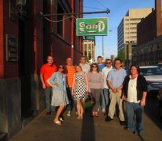 Speakers and committee members of WordCamp North Canton socialize the night before their big conference.  Canton Food Tours showed them around town.