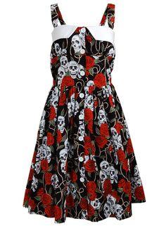 Vintage Retro Rare Skull Roses Punk Emo Rockabilly Pinup 1950s Swing Women's Dress - X-Large