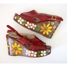 FLASH SALE 25% off Vintage 60s 70s Red Leather Floral Painted Platform... ($169) ❤ liked on Polyvore featuring shoes, sandals, floral print sandals, red leather shoes, red shoes, leather shoes and leather platform sandals