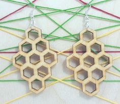 Hexagon wooden earring - jewelry - laser cut - light weight - bridal earring - for woman - fashion - rings - pairs - Bridal Earrings, Women's Earrings, Wooden Earrings, Wood Patterns, Stylish Jewelry, Different Patterns, Woman Fashion, Laser Cutting, Fashion Rings