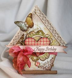 Michele Kovak: Beautiful Birdhouse Birthday card - cut from cricut