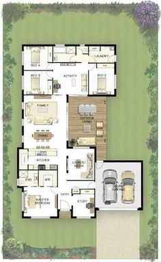 Very nice nearly ideal front master in law suite cannibalize activity space and modify laundry location into master suite with two spare bedrooms insert 1 4 bath powder room idealbedroom Sims House Plans, House Layout Plans, New House Plans, Dream House Plans, Small House Plans, House Layouts, House Floor Plans, U Shaped House Plans, U Shaped Houses
