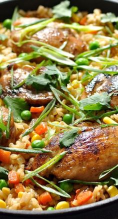 """One Pot Chinese Chicken """"Fried Rice"""" Recipe ~ This has all the flavours you use to make fried rice, but you don't need leftover cooked rice. It's made from scratch using uncooked rice, all in one pot! Healthy Recipes, Rice Recipes, Asian Recipes, Chicken Recipes, Cooking Recipes, Making Fried Rice, Chinese Chicken, Dinner Entrees, Rice"""