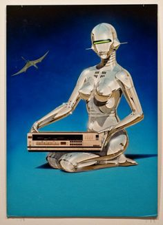 Hajime Sorayama's Super Realistic Retro-Futuristic World Alien Aesthetic, Retro Aesthetic, Female Cyborg, Retro Robot, Robot Girl, Alien Art, Futuristic Art, Cyberpunk Art, Exhibition Poster