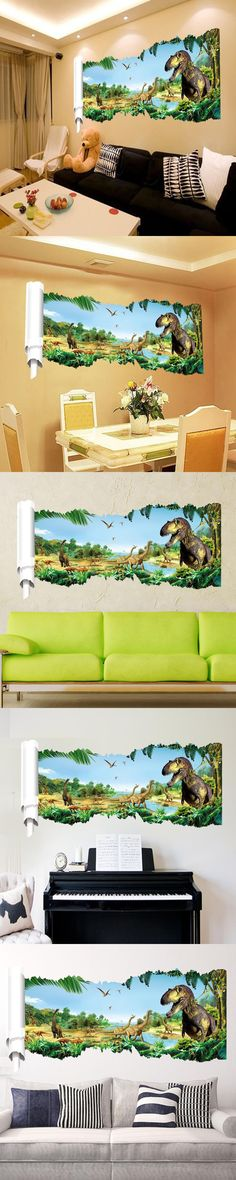 D Dinosaurs Through The Wall Stickers Jurassic Park Home - 3d dinosaur wall decalsd dinosaurs wall stickers decals boys room animals wall decals