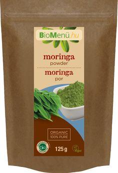 BIO Moringa por (BioMenü), 125 gKifogyhatatlan tápanyagforrás.Magas ásványianyag- és fehérjetartalmú energizáló vitaminkomplex. Tejképzést serkentő hatása miatt kismamáknak kifejezetten ajánlott.