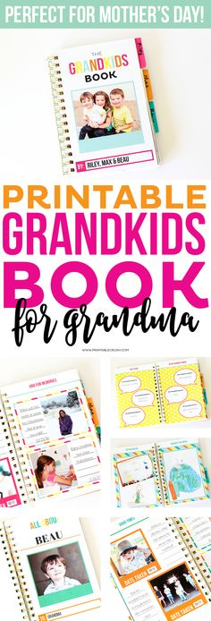 This Printable Grandkids Memory Book includes everything your kids need to make an adorable memory book for Grandma! It's full of pictures, drawings, and facts about her grandkids, which makes it the perfect Mother's Day gift! Mothers Day Book, Grandmas Mothers Day Gifts, Mothers Day Crafts For Kids, Mother Day Gifts, Diy For Kids, Kid Crafts, Birthday Gifts For Grandma, Mother's Day Printables, Bound Book